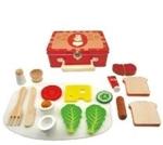Picture of Ontbijtset koffertje blik met houten spulletjes