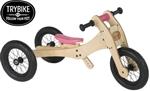 Picture of Trybike houten 2 en 3-wieler loopfiets 2-in-1, roze zadelhoesje en kinbeschermer