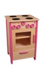 Afbeeldingen van Speel keuken, fornuis kleuter blank hout met roze. Van Dijk Toys