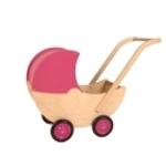 Picture of Poppenwagen naturel met vaste roze kap hout van Dijk Toys