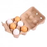 Picture of Eierdoosje, 6 witte/bruine houten speel-eieren Bigjigs