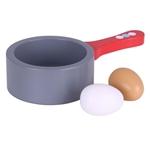 Afbeeldingen van Steelpannetje hout met 2 eieren hardgekookt