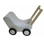 Picture of Moderne poppenwagen wit hout Van Dijk Toys