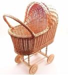 Afbeeldingen van Poppenwagen riet zonder bekleding met vaste kap