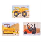 Afbeeldingen van 3 Puzzels van 6 stukjes Werkvoertuigen 2jr+ Bigjigs