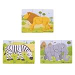 Afbeeldingen van 3 Puzzels van 6 stukjes Safari 2jr+ Bigjigs