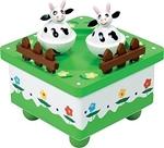 Picture of Muziekdoos dansende koeien achter hekje