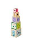 Afbeeldingen van Houten blokkenstapelkubus met vormenstoof  Joueco