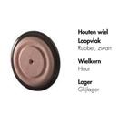 Afbeeldingen van Houten wiel met rubberband 4 cm