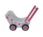 Picture of Moderne poppenwagen wit met roze stippen Hout Van Dijk Toys