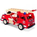 Image de Brandweerauto groot rood hout  Pintoy