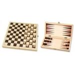 Afbeeldingen van Damspel en Backgammonspel in houten klapkist