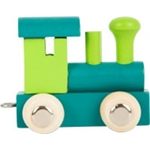 Afbeeldingen van Lettertrein gekleurd Locomotief groen blauw