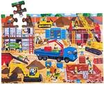 Afbeeldingen van Vloerpuzzel hout Bouwplaats 48 stukjes 3jr+ Bigjigs