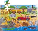 Afbeeldingen van Vloerpuzzel hout Safari-avontuur 48 stukjes 3jr+ Bigjigs