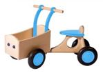 Afbeeldingen van Lichtblauwe houten bakfiets vierwieler-kinderloopfiets -Van Dijk Toys