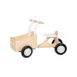 Afbeeldingen van Witte houten bakfiets vierwieler-kinderloopfiets  Van Dijk Toys