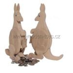 Afbeeldingen van Spaarpot Kangoeroe met jong beukenhout