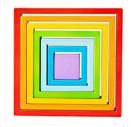 Picture of Houten stapelpuzzel 7 vierkanten regenboog Bigjigs