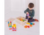 Afbeeldingen van Houten blokken kliksysteem gekleurd 100 stuks in houten kist Bigjigs