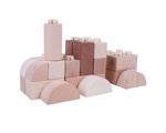 Afbeeldingen van Houten blokken kliksysteem blank 100 stuks in houten kist Bigjigs