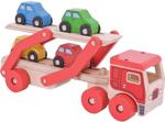 Afbeeldingen van Autotransporter met 4 autootjes hout Bigjigs