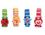 Image de Houten horloge vrolijke kleurtjes