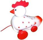 Picture of Trekfiguur kip, wit met rode stippen