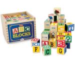 Picture of Houten alfabetblokken 48 stuks (3 x 3 cm) in houten kist