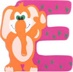 Image de Houten dieren letter E