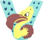 Image de Houten dieren letter V