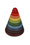 Bild von Schijvenpiramide-speelstapeltoren beukenhout regenboogkleuren 21 cm hoog Van Dijk toys