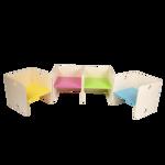 Picture of Kleutergroep Kubusstoel - licht blauwe zitting kinderstoel hout groepsgebruik  1-8 jaar  35x 35 cm Van Dijk Toys