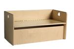 Picture of Kleutergroep Kubus opbergbank - kinderbank hout met blanke klep-zitting en opbergvak  groepsgebruik  1 -8jaar  35x 35 x 70 cm Van Dijk Toys