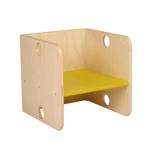 Picture of Kleutergroep Kubusstoel - gele zitting kinderstoel hout  groepsgebruik  1-8 jaar  35x 35 cm Van Dijk Toys