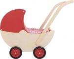 Picture of Poppenwagen naturel met vaste rode kap hout van Dijk Toys