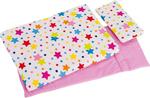 Afbeeldingen van Poppenbedset dekje, matras en kussen - wit met vrolijke sterren Goki