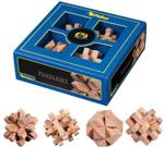 Afbeeldingen van 4 houten 3D puzzels  in kado-doos Philos
