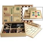 Afbeeldingen van Reisset Houten spellen cassette met Dam, schaak, ludo en backgammon