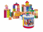 Afbeeldingen van Bouwblokken met patronen bedrukt 50 stuks Woody