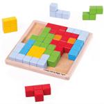 Afbeeldingen van Bouw-puzzelset houten vormen kleurrijk Bigjigs