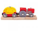 Bild von Houten trein Rode tractor met hooiwagen Bigjigs