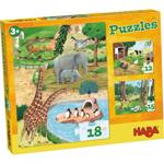 Afbeeldingen van Puzzeldoos Dierenpuzzels, 12, 15 en 18 stukken  Haba