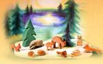 Afbeeldingen van Speelset bos met diorama 12 pcs Ostheimer