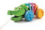 Afbeeldingen van Regenboog krokodil Trekfiguur Plantoys